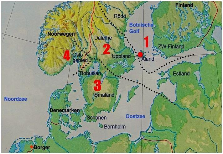 Zwerfsteenkaart Hesemann indeling Scandinavië