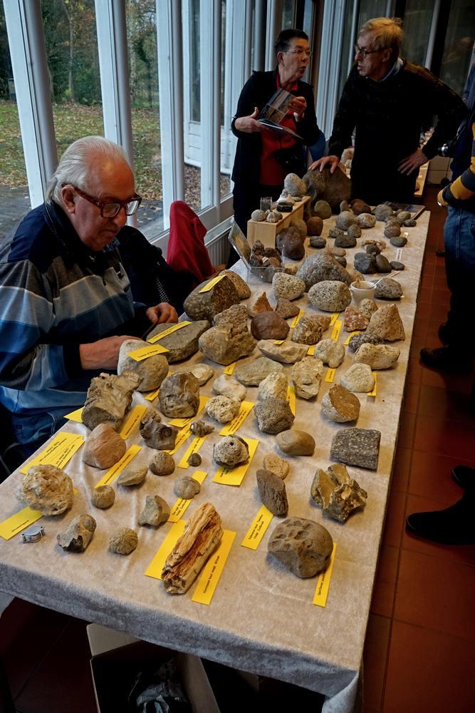 Luit Dijkstra met zijn stenen en fossielen