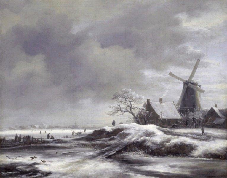 De kleine ijstijd met molen' door Jacob van Ruisdael (1628-1682).
