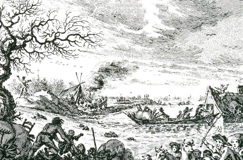 Doorbreken van de Rhijndijk in 1753 bij Leuven, buurtschap tussen oud-zevenaar en Groesen