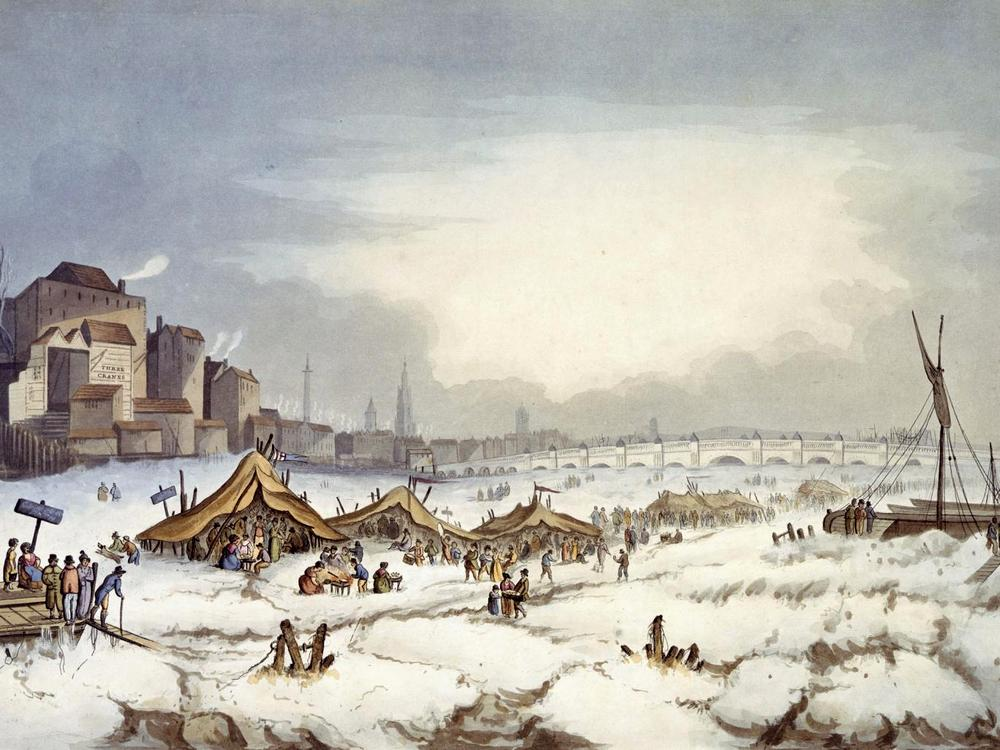 Frost fair on the Thames op 18th February 1814
