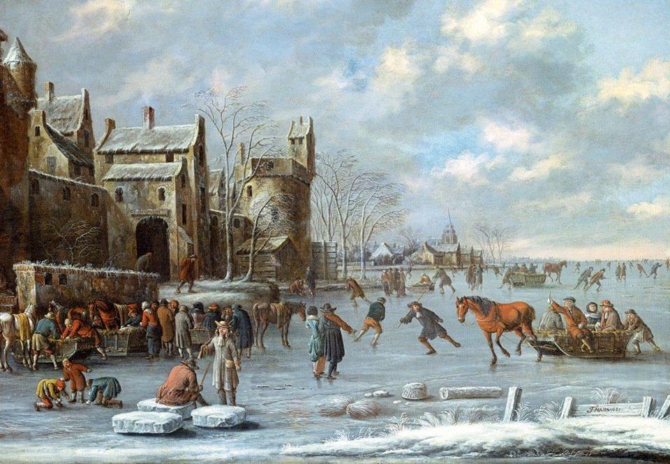 Op 17e-eeuwse schilderijen, zoals dit van Thomas Heeremans (1641-1702, is goed te zien dat rivieren 's winters vaak dichtvroren.