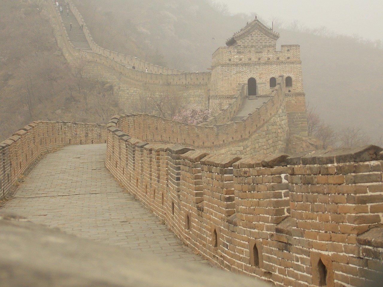 chinese muur in de mist